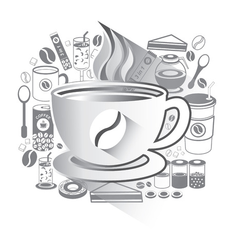 Illustration of Coffee icons set