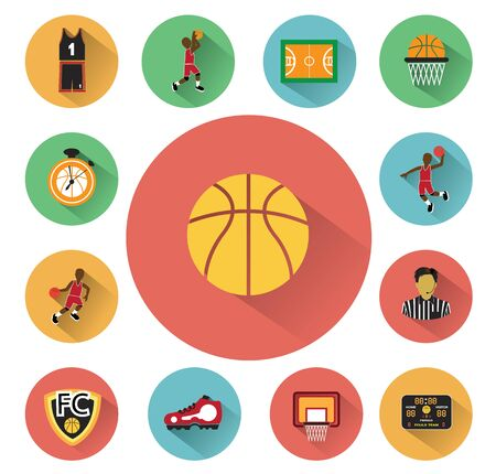 Modern flat Basketball icons set with long shadow effect