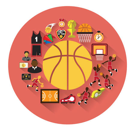 Modern flat basketball icons set with long shadow effect.