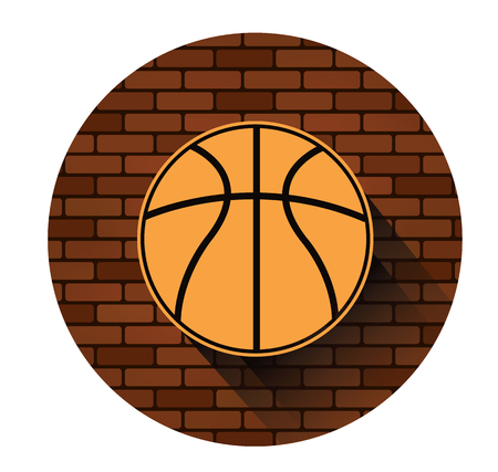 Street basketball icon with long shadow effect
