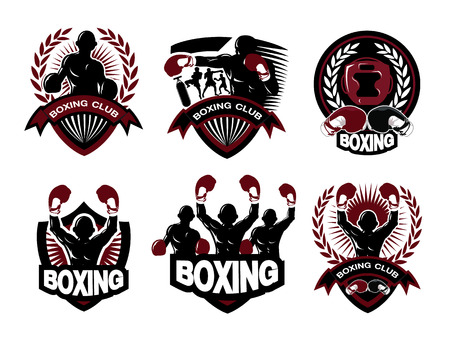 Illustration of boxing logo set