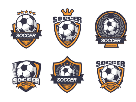 Illustration of soccer label emblem set