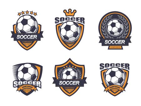 Illustration of soccer label emblem set