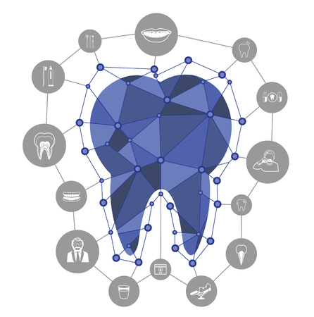 Polygonal blue vector tooth icon with dental icons