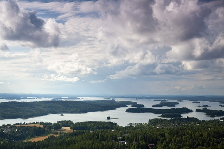 Finnish landscape near to Kuopio photographed from Puijo Tower Stock Photo