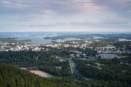 Finnish landscape of Kuopio photographed from Puijo Tower