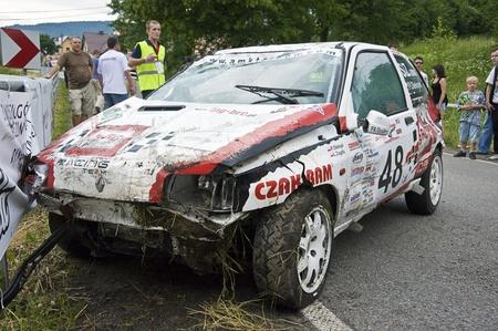 Damaged car during Polish Mountain Race