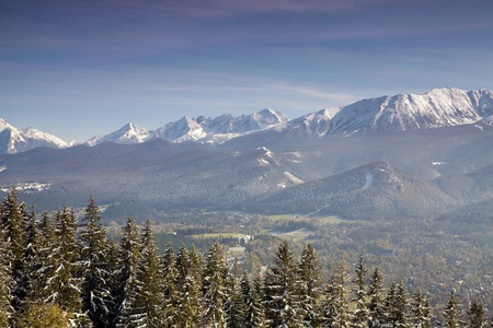 Panoramic view of Tatra Mountain from Gubalowka Peak Stock Photo