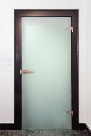 glass door: Modern glass  door - wood and frozen glass
