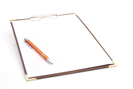 Blank Clipboard with Pen Stock Photo - 11271264