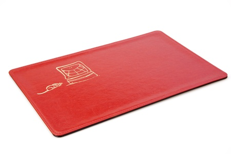 mouse pad: Red Mouse Pad Isolated on White Stock Photo