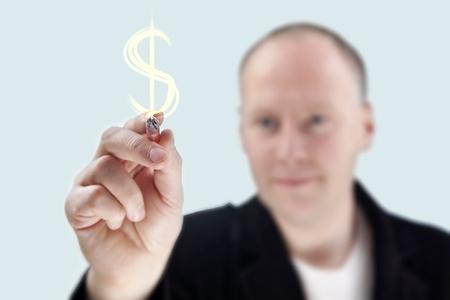 Man writing $ sign on virtual board Stock Photo - 11721817