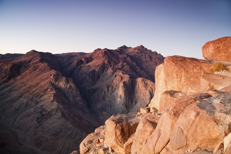 sinai: View at Mount Saint Catherine from Mount Moses at dawn