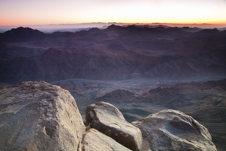 Dawn in Sinai Mountains - view from Mt Moses photo