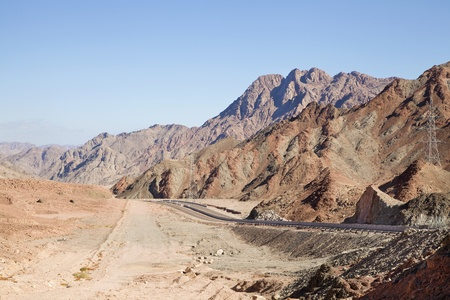 Sinai Landscape: road through desert and mountains Stock Photo - 12658536