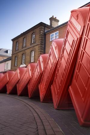 Falling down of British Telephone Box