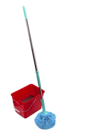 Mop and bucket isolated on white background Stock Photo - 13234728