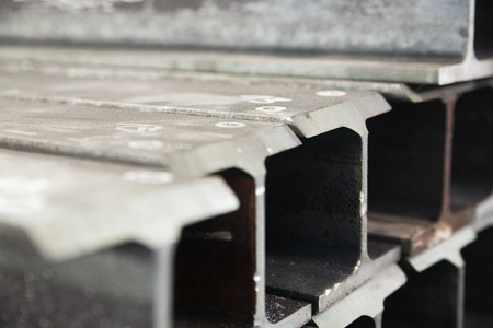 steel girder: I-beam in a row in a factory
