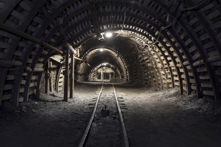 Illuminated, Underground Tunnel in the Minery Stock Photo