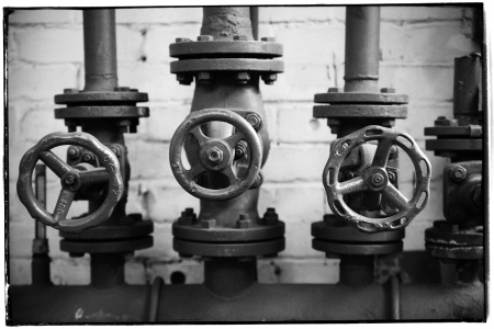 analogue: Three valves - analogue, black and white
