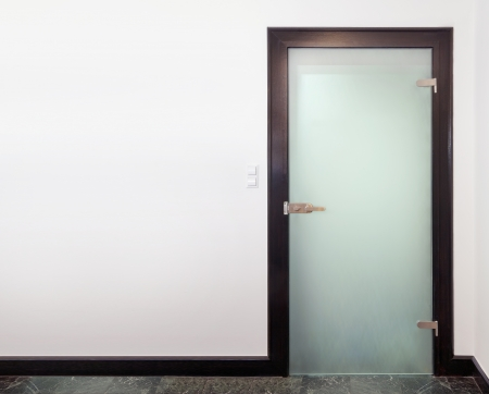 glass house: Modern glass  door - wood and frozen glass