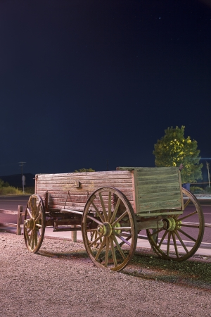 Old, western cart near historic Route 66