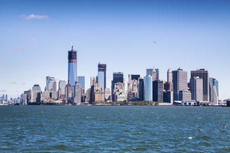 world trade center: New York City - Manhattan from ferry Stock Photo