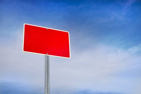 Blank, Red Road Sign and Blue Sky Behind Stock Photo - 16263140