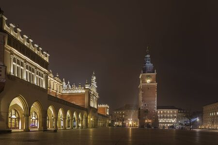 Cloth Hall and Town Hall Tower by night, Cracow Stock Photo - 16837651