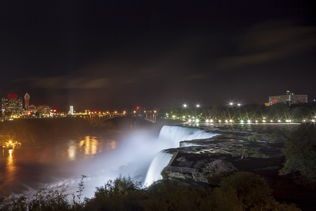 American Falls and Niagara Falls City in Canada at night photo