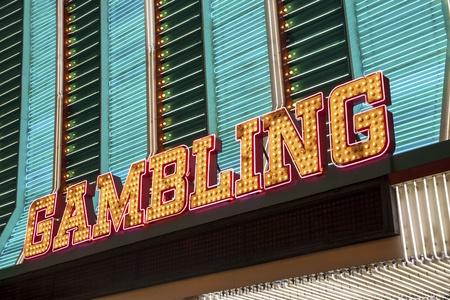 seven deadly sins: Gambling Sign in Las Vegas, Nevada, USA Editorial