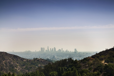 Panorama of Los Angels, California, USA taken from Beverly Hills  免版税图像