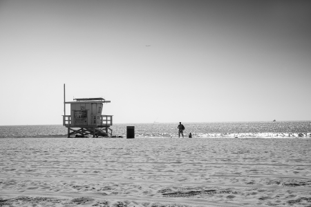 Lifeguard station and people nearby, Venice Beach, Santa Monica Stock Photo