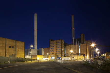 Buildings and chimneys of power station in Helsinki, where Flow Festivl takes place  photo