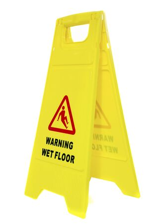 Warning Wet Floor Isolated on White photo