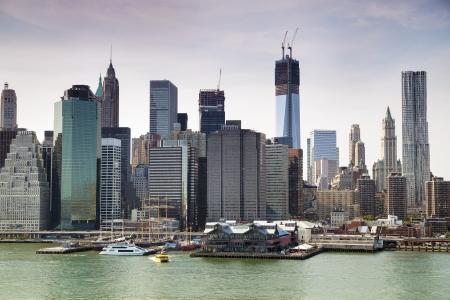 world trade center: New York City - view from Brooklyn on Manhattan