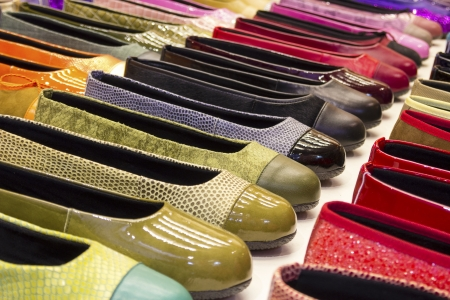Variety of colorful shoes photo