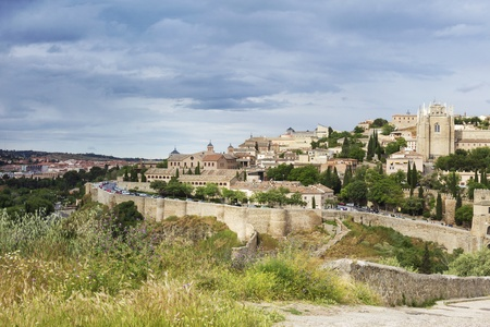 toledo town: Old town of Toledo, beside the Tagus River, former capital city of Spain