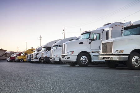 Different truck in a row