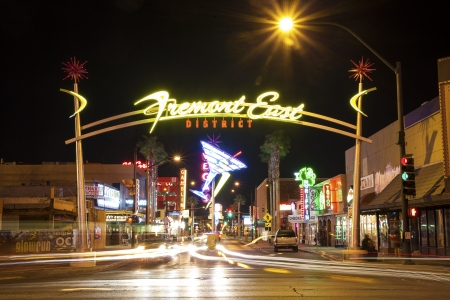 las vegas metropolitan area: Las Vegas, USA - October 1, 2012  Fremont District Entrance from The Las Vegas Strip