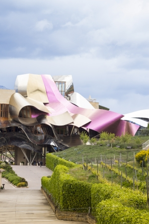 frank gehry:  Elciego, Spain - May 18, 2013   Hotel Marqués de Risca  Masterpiece created by Frank Gehry is one of the most exclusive in this area  Editorial