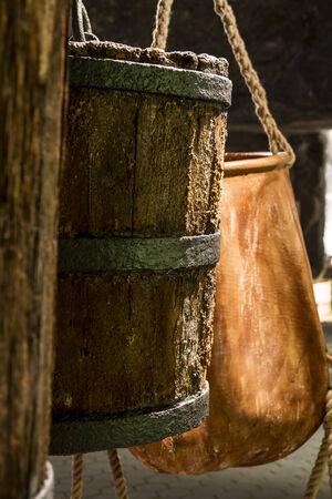 salt mine: Old buckets used for transportation salt in salt mine