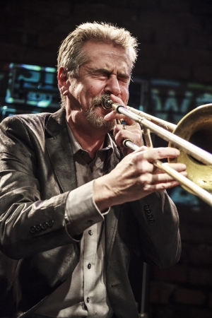 swell: Kraków, Poland - November 19, 2013: Steve Swell, trombonist during concert in Alchemia Club in Kraków. Concert takes place as a part of Krakow Jazz Autumn Festival.