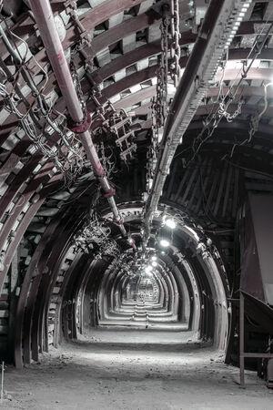 Un túnel de Undergroung en una mina de carbón