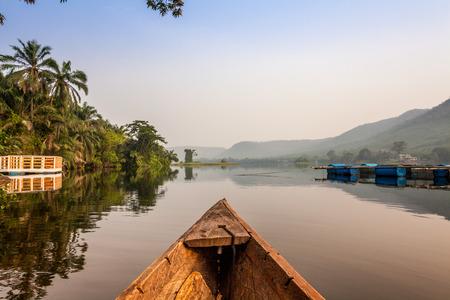 ghana: Canoe ride around tropical island in Ghana, Africa