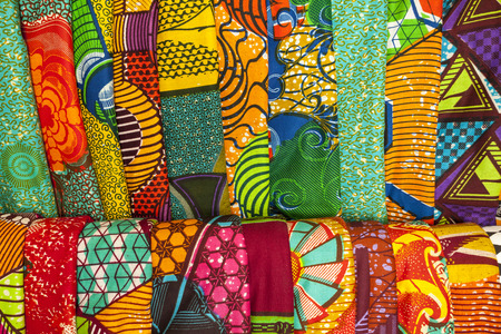 African traditional fabrics in a shop in Ghana, West Africa Standard-Bild