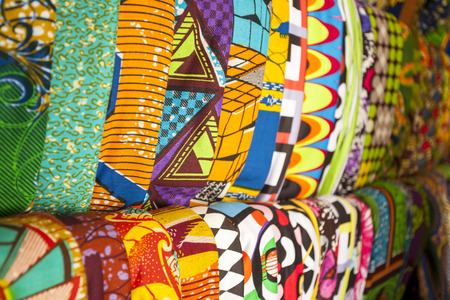African traditional fabrics in a shop in Ghana, West Africa 免版税图像