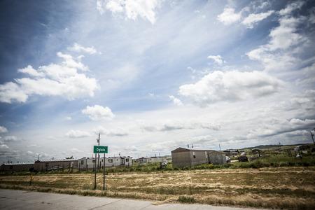 pobreza: Casa en Oglala nativos americanos Reservaciones, Dakota del Sur, EE.UU.