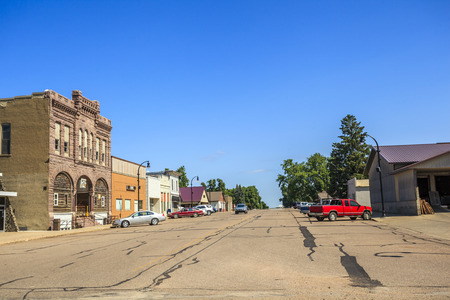 Main road in regular town of central states, Iowa, USA