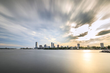 Milwaukee skyline at sunset, Wisconsin, USA photo